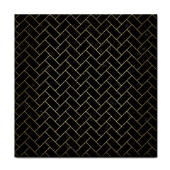 Brick2 Black Marble & Gold Brushed Metal Tile Coaster by trendistuff