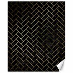 Brick2 Black Marble & Gold Brushed Metal Canvas 16  X 20  by trendistuff