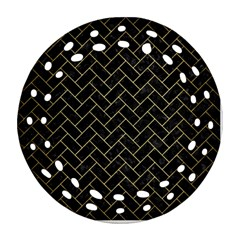 Brick2 Black Marble & Gold Brushed Metal Ornament (round Filigree) by trendistuff