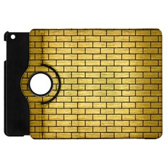 Brick1 Black Marble & Gold Brushed Metal (r) Apple Ipad Mini Flip 360 Case by trendistuff