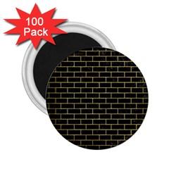 Brick1 Black Marble & Gold Brushed Metal 2 25  Magnet (100 Pack)  by trendistuff
