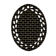 Brick1 Black Marble & Gold Brushed Metal Ornament (oval Filigree) by trendistuff