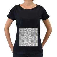 Grey White Tiles Geometric Stone Mosaic Tiles Women s Loose-Fit T-Shirt (Black) by yoursparklingshop