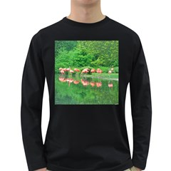 Flamingos Nature Green Pink Long Sleeve Dark T Shirts by yoursparklingshop