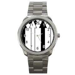 Funny Black And White Stripes Diamonds Arrows Sport Metal Watch by yoursparklingshop