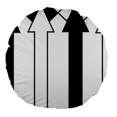 Funny Black And White Stripes Diamonds Arrows Large 18  Premium Round Cushions by yoursparklingshop