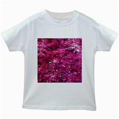 Festive Hot Pink Glitter Merry Christmas Tree  Kids White T Shirts by yoursparklingshop