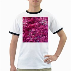 Festive Hot Pink Glitter Merry Christmas Tree  Ringer T Shirts by yoursparklingshop