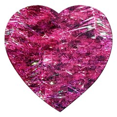 Festive Hot Pink Glitter Merry Christmas Tree  Jigsaw Puzzle (heart) by yoursparklingshop