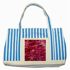 Festive Hot Pink Glitter Merry Christmas Tree  Striped Blue Tote Bag by yoursparklingshop
