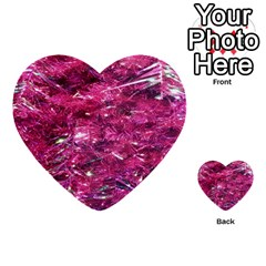 Festive Hot Pink Glitter Merry Christmas Tree  Multi Purpose Cards (heart)  by yoursparklingshop