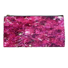 Festive Hot Pink Glitter Merry Christmas Tree  Pencil Cases by yoursparklingshop