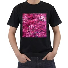 Festive Hot Pink Glitter Merry Christmas Tree  Men s T Shirt (black) by yoursparklingshop