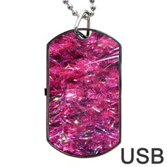 Festive Hot Pink Glitter Merry Christmas Tree  Dog Tag USB Flash (One Side) by yoursparklingshop
