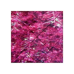 Festive Hot Pink Glitter Merry Christmas Tree  Acrylic Tangram Puzzle (4  X 4 ) by yoursparklingshop
