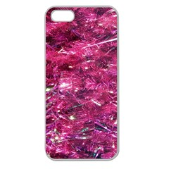 Festive Hot Pink Glitter Merry Christmas Tree  Apple Seamless Iphone 5 Case (clear) by yoursparklingshop