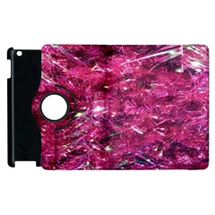 Festive Hot Pink Glitter Merry Christmas Tree  Apple Ipad 2 Flip 360 Case by yoursparklingshop