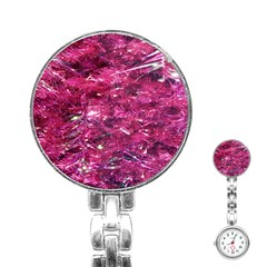 Festive Hot Pink Glitter Merry Christmas Tree  Stainless Steel Nurses Watch by yoursparklingshop