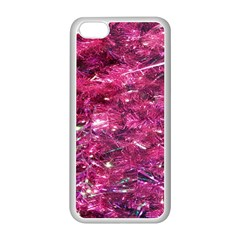 Festive Hot Pink Glitter Merry Christmas Tree  Apple Iphone 5c Seamless Case (white) by yoursparklingshop