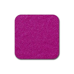 Metallic Pink Glitter Texture Rubber Coaster (square)  by yoursparklingshop