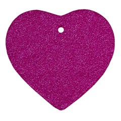 Metallic Pink Glitter Texture Heart Ornament (2 Sides) by yoursparklingshop