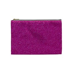 Metallic Pink Glitter Texture Cosmetic Bag (medium)  by yoursparklingshop