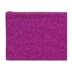 Metallic Pink Glitter Texture Cosmetic Bag (xl) by yoursparklingshop