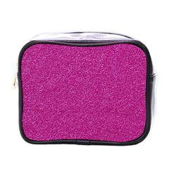 Metallic Pink Glitter Texture Mini Toiletries Bags by yoursparklingshop