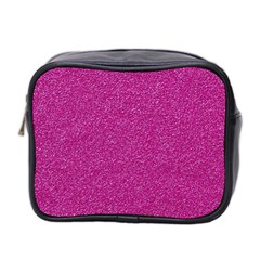 Metallic Pink Glitter Texture Mini Toiletries Bag 2 Side by yoursparklingshop
