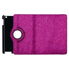 Metallic Pink Glitter Texture Apple Ipad 2 Flip 360 Case by yoursparklingshop