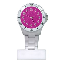 Metallic Pink Glitter Texture Plastic Nurses Watch by yoursparklingshop
