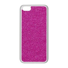 Metallic Pink Glitter Texture Apple Iphone 5c Seamless Case (white) by yoursparklingshop