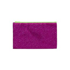 Metallic Pink Glitter Texture Cosmetic Bag (xs) by yoursparklingshop