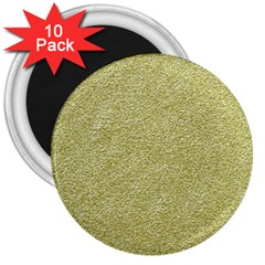Festive White Gold Glitter Texture 3  Magnets (10 Pack)  by yoursparklingshop