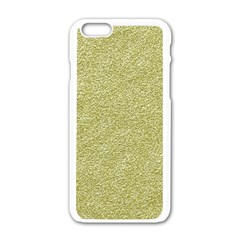 Festive White Gold Glitter Texture Apple Iphone 6/6s White Enamel Case by yoursparklingshop