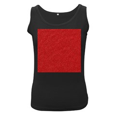 Festive Red Glitter Texture Women s Black Tank Top by yoursparklingshop