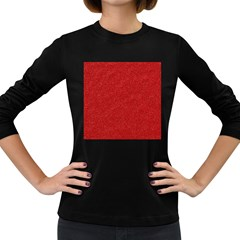 Festive Red Glitter Texture Women s Long Sleeve Dark T Shirts by yoursparklingshop