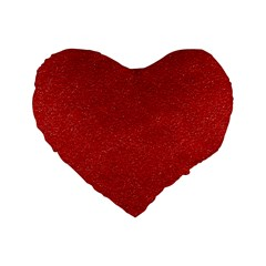 Festive Red Glitter Texture Standard 16  Premium Flano Heart Shape Cushions by yoursparklingshop