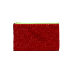 Festive Red Glitter Texture Cosmetic Bag (xs) by yoursparklingshop