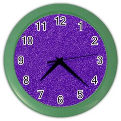Festive Purple Glitter Texture Color Wall Clocks