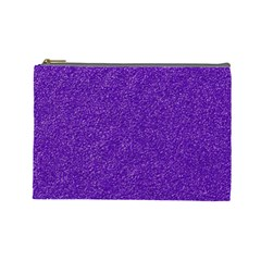 Festive Purple Glitter Texture Cosmetic Bag (large)  by yoursparklingshop