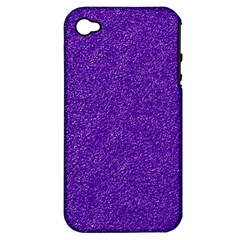 Festive Purple Glitter Texture Apple Iphone 4/4s Hardshell Case (pc+silicone) by yoursparklingshop