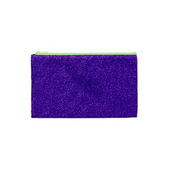 Festive Purple Glitter Texture Cosmetic Bag (xs) by yoursparklingshop