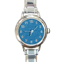 Festive Blue Glitter Texture Round Italian Charm Watch by yoursparklingshop
