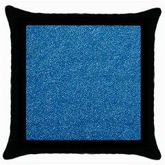 Festive Blue Glitter Texture Throw Pillow Case (black) by yoursparklingshop