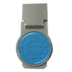 Festive Blue Glitter Texture Money Clips (round)  by yoursparklingshop