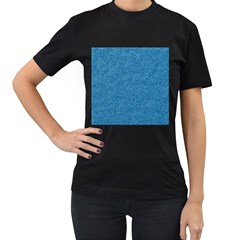 Festive Blue Glitter Texture Women s T Shirt (black) (two Sided) by yoursparklingshop