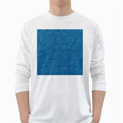 Festive Blue Glitter Texture White Long Sleeve T Shirts by yoursparklingshop