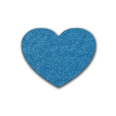 Festive Blue Glitter Texture Heart Coaster (4 Pack)  by yoursparklingshop