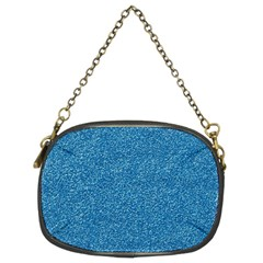 Festive Blue Glitter Texture Chain Purses (two Sides)  by yoursparklingshop